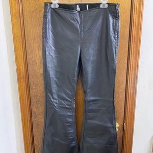 Free People Wide Leg Black Pleather Pants Size 29